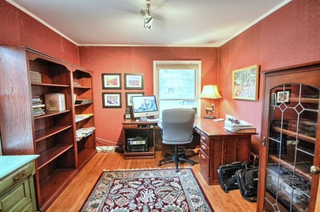office in Northville Commons home with new wood floors